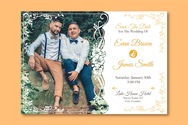 Wedding invitation template with photo of two men in love