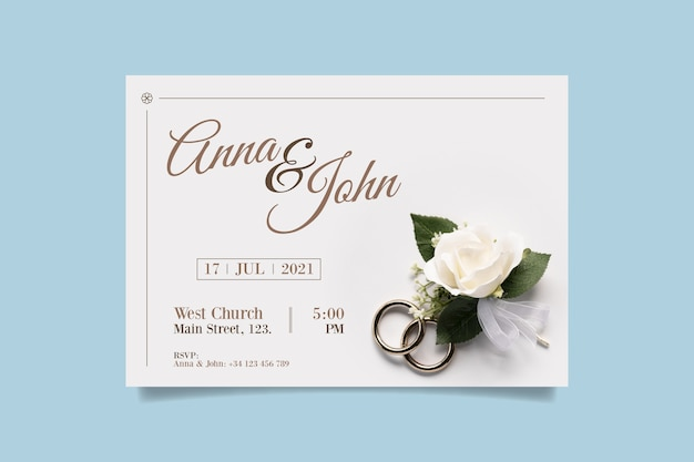 Wedding invitation template with photo of white rose