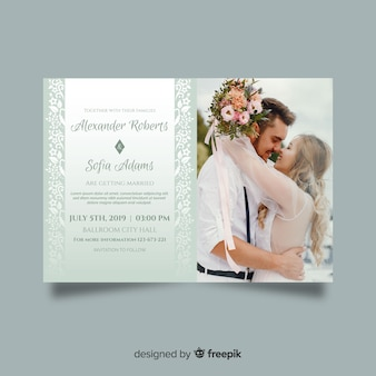Wedding invitation template with photo