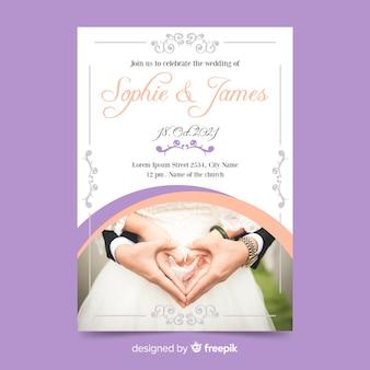 Wedding invitation template with photo