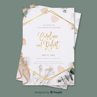 Wedding invitation template with photo Premium Vector