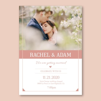 Wedding invitation template with pic