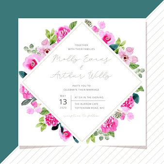 Wedding invitation template with pink floral frame watercolor