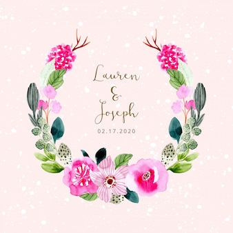 Wedding invitation template with pink flower watercolor