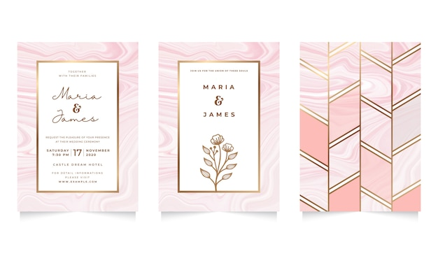Wedding invitation template with pink liquid marble design