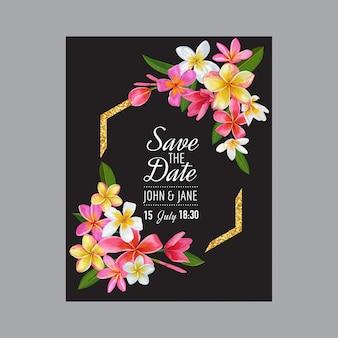 Wedding invitation template with pink plumeria flowers