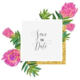 ピンクのプロテアの花とゴールデンフレームの結婚式の招待状のテンプレート。グリーティング、記念日、誕生日、ベビーシャワーパーティーのために日付フローラルカードを保存します。植物のデザイン。ベクトルイラスト