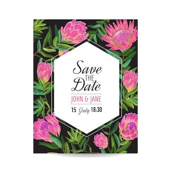 ピンクのプロテアの花と結婚式の招待状のテンプレート。グリーティング、記念日、誕生日、ベビーシャワーパーティーのために日付フローラルカードを保存します。植物のデザイン。ベクトルイラスト