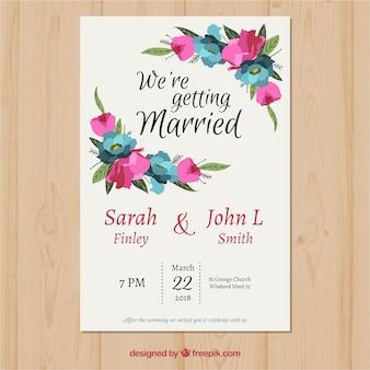 多角形の花の結婚式招待状テンプレート