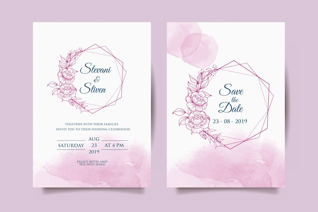 Wedding invitation template with purple flower