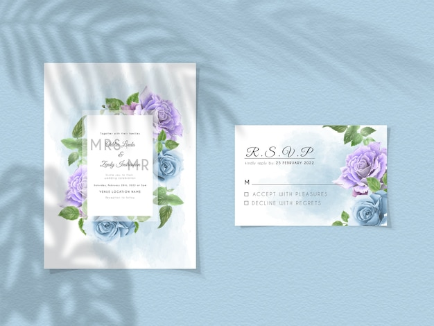 Wedding invitation template with purple and royal blue roses design