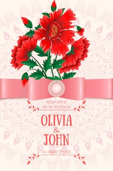 Wedding invitation template with red flowers