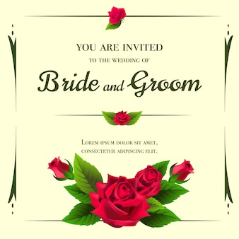 Wedding invitation template with red roses on yellow background.
