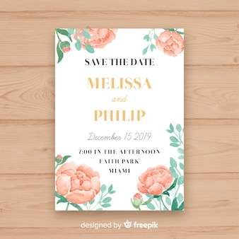 Wedding invitation template with some peony flowers