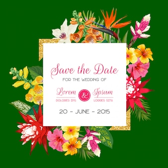 Wedding invitation template with tiger lily flowers and palm leaves. tropical floral save the date card
