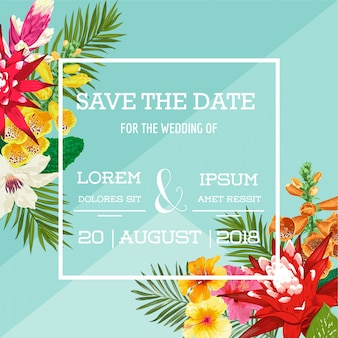 Wedding invitation template with tiger lily flowers and palm leaves. tropical floral save the date card.