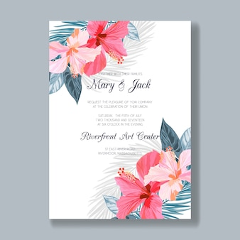 Wedding invitation template with tropical flowers and leaves