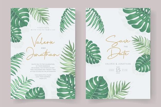 熱帯の葉飾りと結婚式の招待状のテンプレート