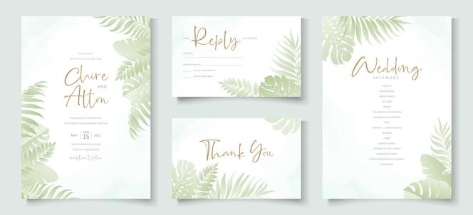 modello di invito a nozze con design a foglia di palma tropicale