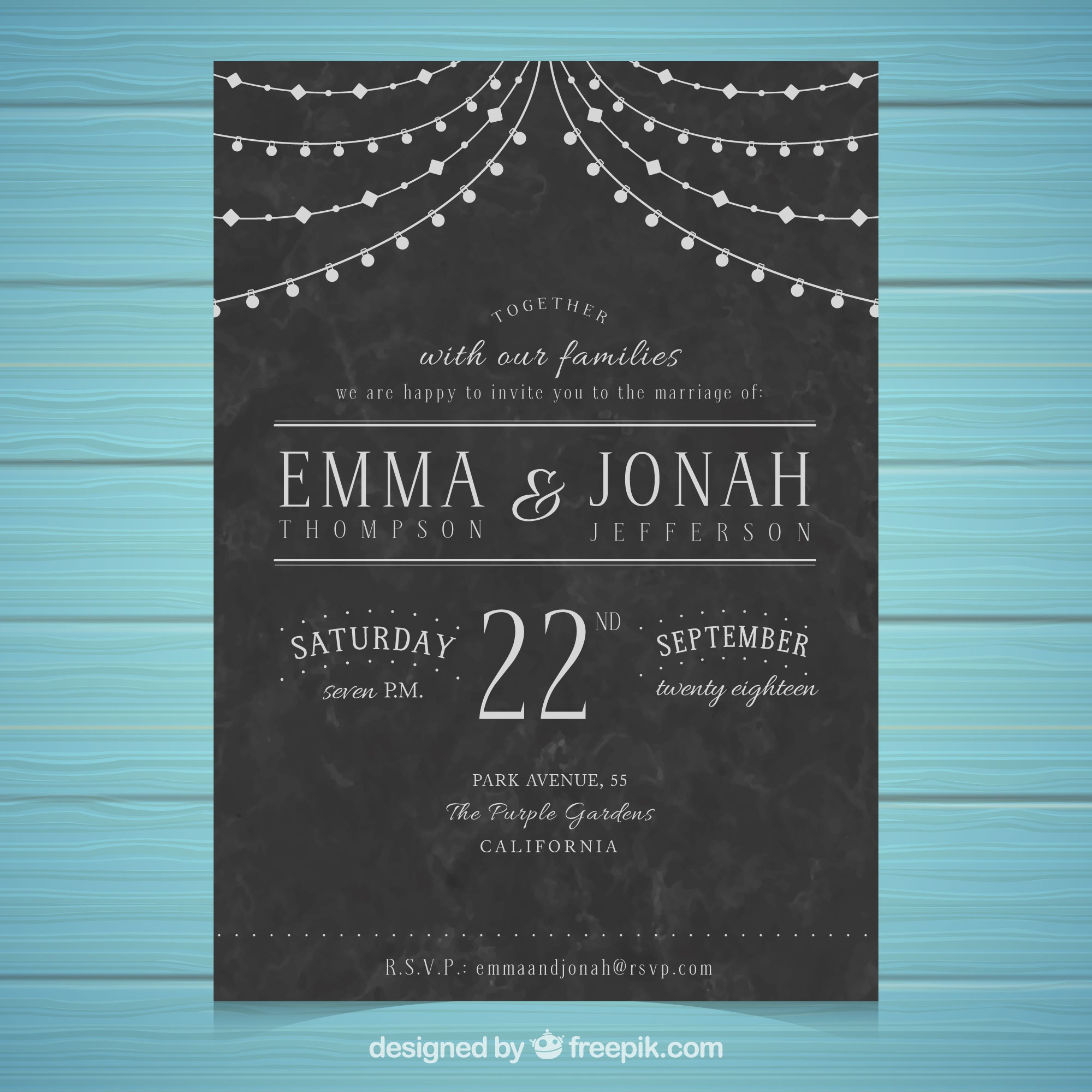 Wedding invitation template with vintage style