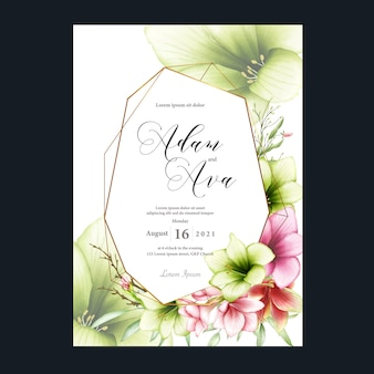 Wedding invitation template with watercolor amaryllis flowers