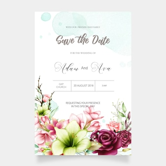 Wedding invitation template with watercolor amaryllis and rose flowers