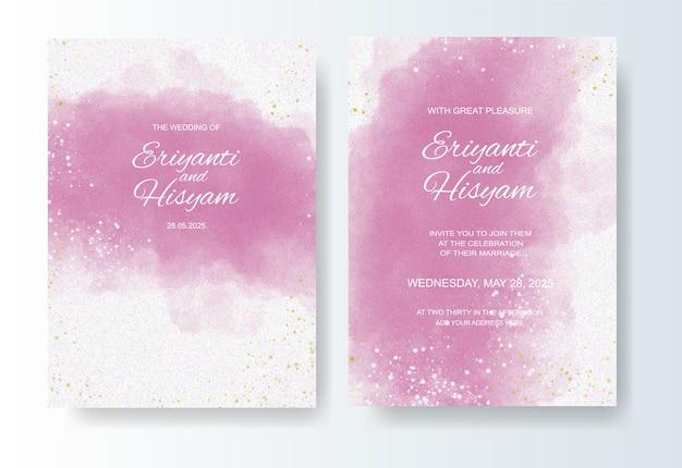水彩画の背景とスプラッシュと結婚式の招待状のテンプレート