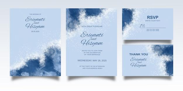 수채화 배경 및 스플래시 결혼식 초대장 서식 파일