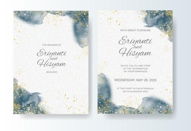 Шаблон свадебного приглашения с акварельным фоном и всплеском