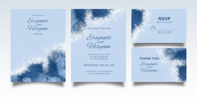 Wedding invitation template with watercolor background and splash