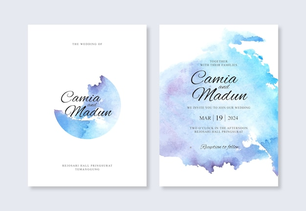 Wedding invitation template with watercolor background