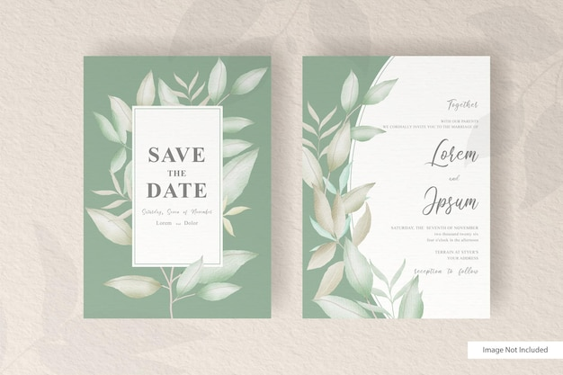 Wedding invitation template with watercolor floral arrangement frame