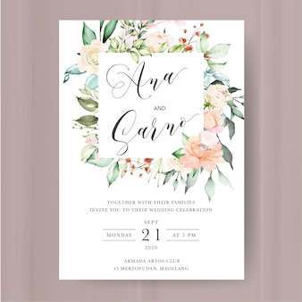 Wedding invitation template with watercolor floral and leaves