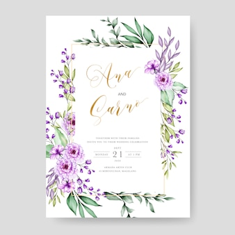Wedding invitation template with watercolor floral leaves