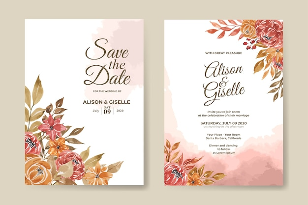 수채화 꽃 세트 결혼식 초대장 서식 파일
