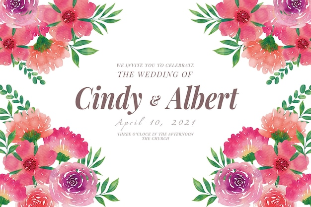 Wedding invitation template with watercolor flowers