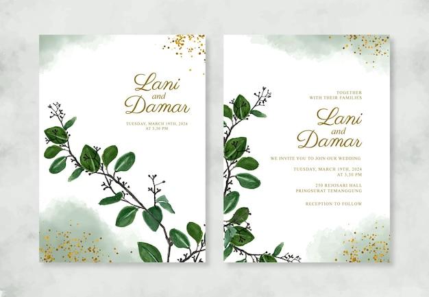 Шаблон свадебного приглашения с акварельной листвой