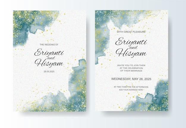 수채화 잉크 스플래시와 결혼식 초대장 서식 파일