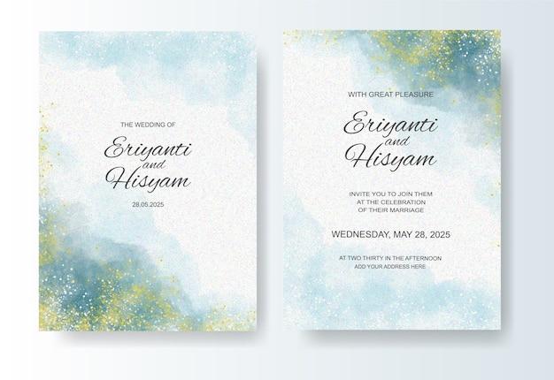水彩インクスプラッシュと結婚式の招待状のテンプレート