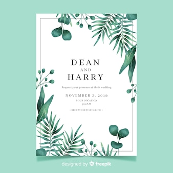 Wedding invitation template with watercolor leaves