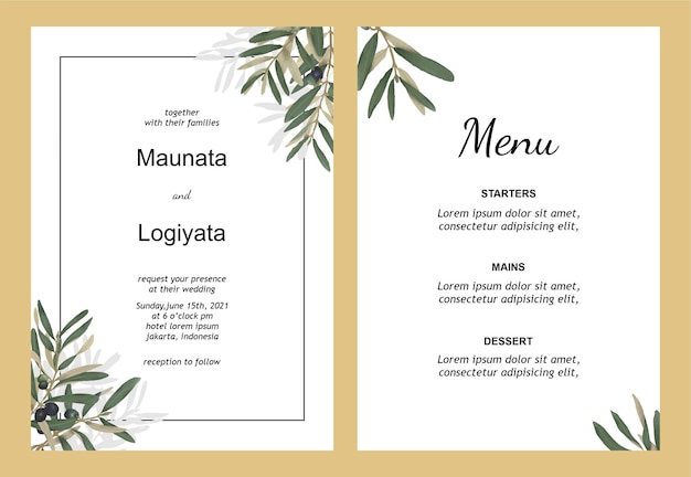 Wedding invitation template with watercolor olive leaves