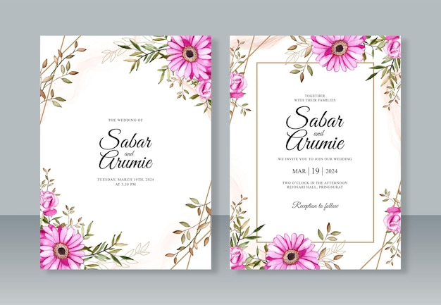 Wedding invitation template with watercolor painting flowers and abstract splash