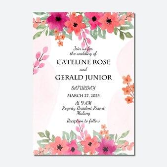水彩の桃の花の背景と結婚式の招待状のテンプレート
