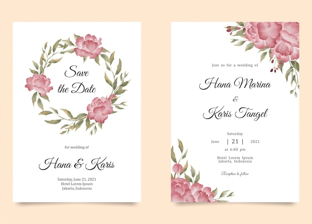 Wedding invitation template with watercolor peony flower decoration