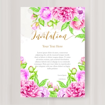 Wedding invitation template with watercolor peony flower