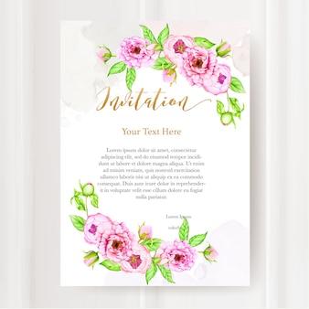 수채화 모란 꽃과 결혼식 초대장 서식 파일