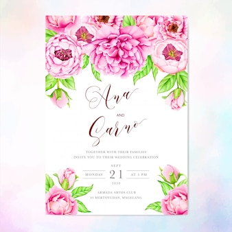 Wedding invitation template with watercolor peony flowers