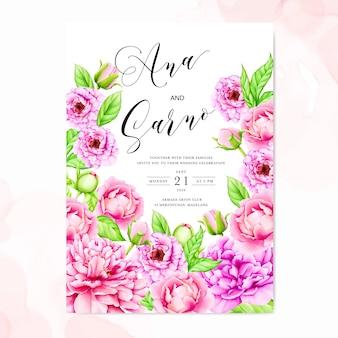 Шаблон свадебного приглашения с акварельными цветами пиона