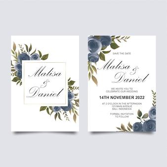 水彩の紫のバラの装飾が施された結婚式の招待状のテンプレート