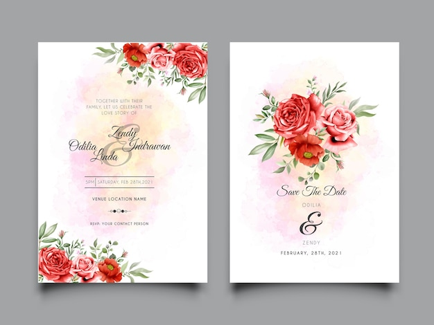 水彩の赤いバラのイラストと結婚式の招待状のテンプレート